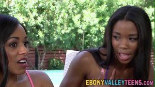 Ebony threesome teens