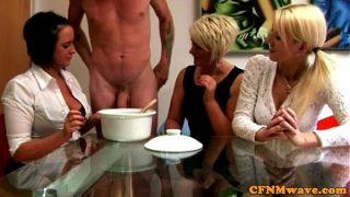 Euro CFNM milfs collecting his cum